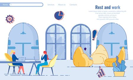 Rest and Work in Cozy Office with Sitting Area. Illustration