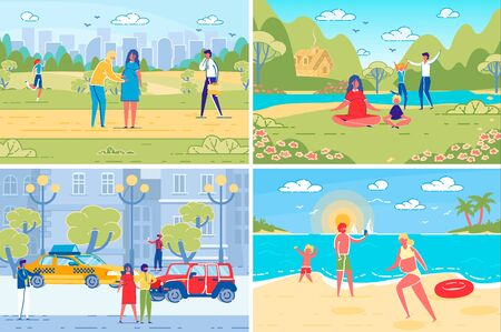 Pregnant Woman Daily Activity Scenes Set. Man and Woman Cartoon Characters, Family Couple Expecting Child Resting in Park and at Sea Coast and Moving Around Town. Flat Vector Illustrations Set.