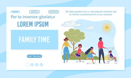 Family Time Flat Landing Page Vector Template