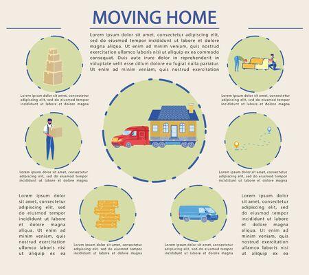Flat Illustration, Successful Moving Home, Cartoon Иллюстрация