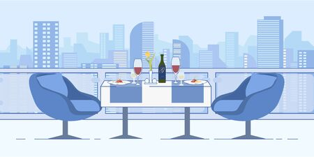 Romantic Date at Restaurant Roof Cityscape View Illustration