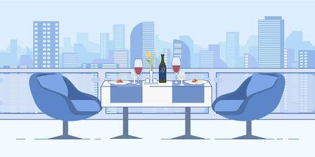 Romantic Date at Restaurant Roof Cityscape View Иллюстрация