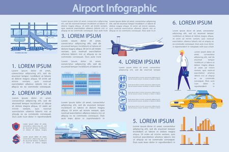 Flat Illustration Modern Airport, Infographic. Иллюстрация