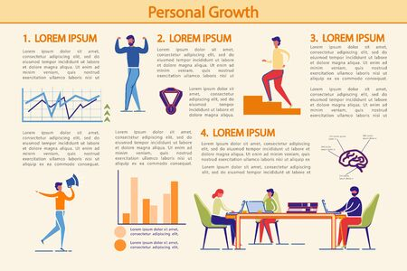 Personal Growth, Success Achievements Infographic Set. Soft Skills Upgrading and Professional Growth Strategy Presentation Kit with People Cartoon and Bar Diagram. Flat Vector Illustration.