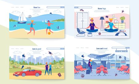 Have Fun, Home Yoga, Love is Good, Love and Travel Stock Illustratie