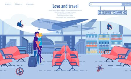 Love and Travel, Couple Kissing at Airport Banner.
