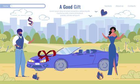 Man Giving Luxury Sport Car to Woman Flat Design