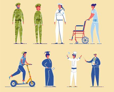 Diverse Professions Civil and Military Characters. Иллюстрация