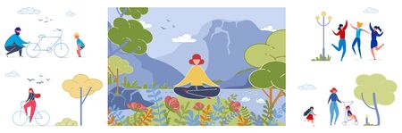 Yoga and Outdoor Rest Vector Illustrations Set Illustration