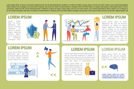 Business Infographics Set with People Working.
