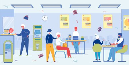 Aged People in Bank. Pension and Money Savings. Illustration