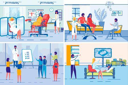 Pregnant Woman on Medical Prenatal Center Check up Illustration