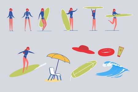 Surfer Woman Characters with Beach Items Vector.