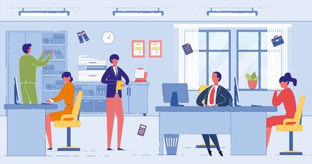 Professional Accounting Services. Account Management and Financial Activities, Tax Reporting. Businessman Client Referring to Accountants Assistance and Consultation. Flat Cartoon Vector Illustration.