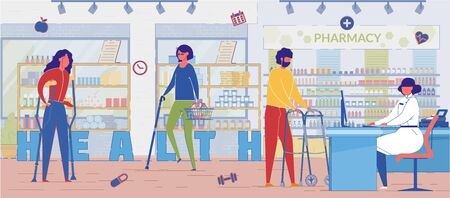 Human Health Problem Treatment Word Concept Banner. Pharmacy Customers Buying Medication Cartoon Characters. Disabled Individual, Blind Patient in Drugstore. Woman with Crutches Choosing Pills