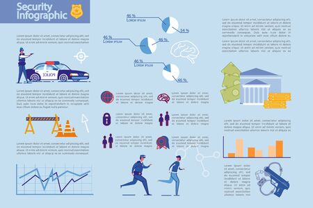 Security and Crime Statistics Infographic Set.