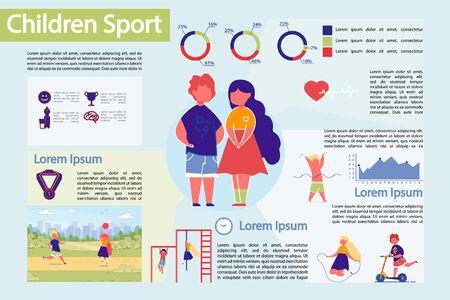 Insieme di Infographic di vettore di Infographic di sport dei bambini.