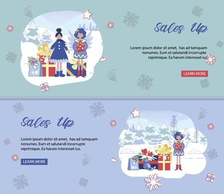 Christmas Sales Up Banners Set. Design Templates Ilustração