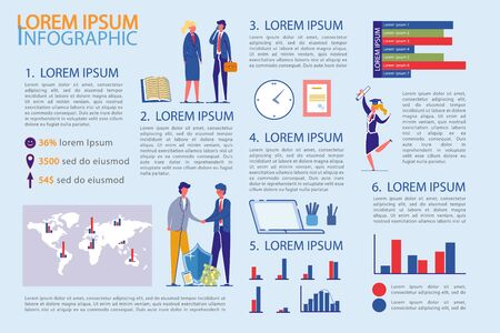Business Infographic Set with People and Diagrams.