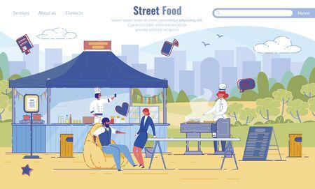 Flat Landing Page Offering Street Food Service Ilustrace
