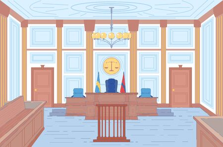 Courthouse Hall or Trial Room Interior Background with Places for Judges and Wooden Tribune for Witnesses, Defense and Prosecution Representatives. Guilt Proof and Sentencing. Flat Vector Illustration
