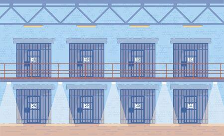 Prison Corridors Cells Doors Vector Background. Illustration