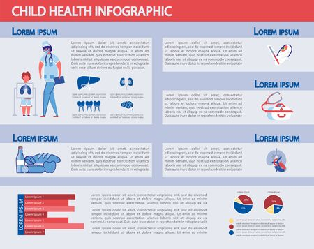 Child Health Infographic Set - Childhood Obesity, Nutrition and Development. Medicine Statistic and Kids Health Care with Diagrams, Graphic Bars and People Characters. Flat Vector Illustration. Çizim