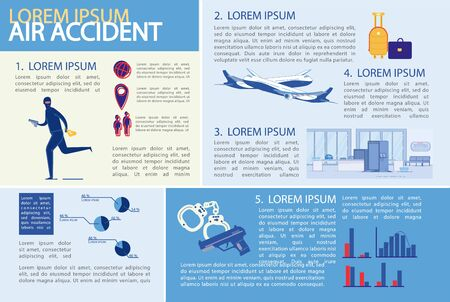Air Accident or Aviation Disaster Infographic Set.