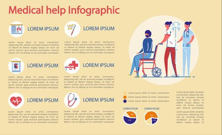 Medical Help and Health Care Infographic Set. Doctors and Patients Characters, Medical Icons and Symbols in Clinic or Hospital Informative Statistical Presentation Bundle. FLat Vector Illustration. Ilustração