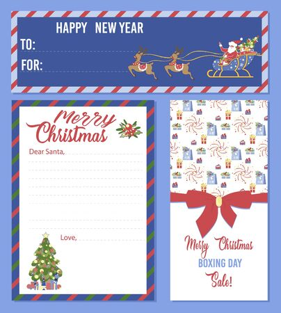 Christmas Set of Blank Templates. Printable Letter for Santa Claus, Ticket or Invitation for Holidays Event, Xmas Menu with Festive Decoration, Fir-tree, Sled. Cartoon Flat Vector Illustration, Banner