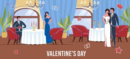 Amorous Couples Celebrating Saint Valentines Day in Restaurant. Man and Woman Cartoon Characters Show Romantic Attitude and Love Feelings. All Lovers Day Holiday. Flat Vector Illustration.