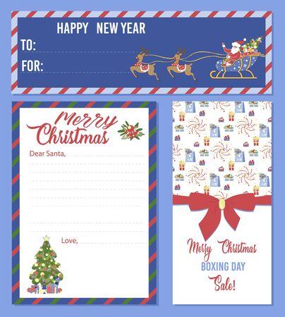 Christmas Set of Blank Templates Printable Banners Illusztráció