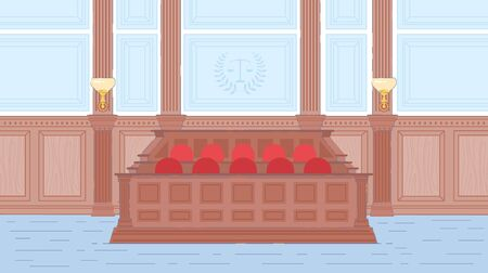 Wooden Jury Box in Court House Hall Interior. Court room. Judge Session, Evidence Provision, Litigation involving Public Independent Jury. Empty Trail Room Background. Flat Vector Illustration. Ilustrace