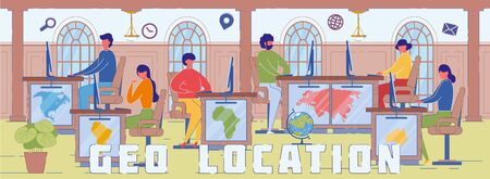 Geo Location and GPS System Word Concept Banner Vektorové ilustrace