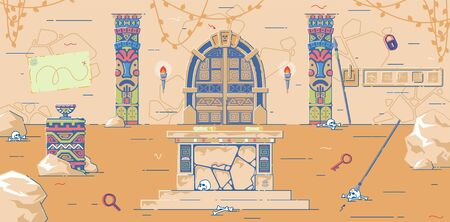 Quest Room Decorated Like Ancient Mysterious Pyramid. Real Life Escape Location for Fans Brain Twisting Tasks, Tricky Puzzles and Clues Discovery. Torches, Skulls, Altar for Sacrifices, and Spears.  イラスト・ベクター素材