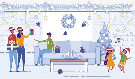 Happy People Meeting for Christmas or New Year Celebration. Married Couple Bringing Presents to Man Sitting in Living Room with Children Dance at Decorated Fir Tree, Cartoon Flat Vector Illustration Ilustração