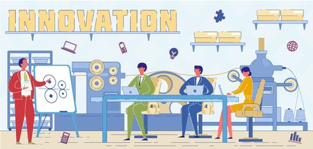 Industrial Innovations Experts Word Concept Banner. Hi Tech Specialist Suggesting Factory Modernization Ideas Cartoon Character. Engineer Offering Manufacturing Automation Scheme to Executive Board