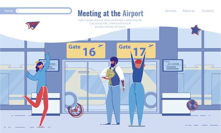 Men and Women Cartoon Characters, Family or Friends Meeting at Airport. Aircraft Terminal Hall Background with Cheerful People Welcoming Relative, Returning from Travel. Flat Vector Illustration. Ilustração