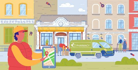 Local Pharmacy Truck Delivers Orders to Customers. Man Loads Boxes from Beautiful Pharmacy Building with Medicines in Transport. Courier in Special Vest Holds Tablet with Marked Delivery Location.