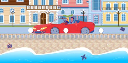Loving Couple Bowling Along Waterfront in Red Car