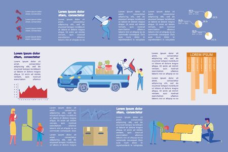 Furniture and Cleaning Agency Infographic, Slide. Vektorové ilustrace