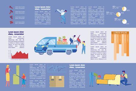 Möbel- und Reinigungsagentur Infografik, Folie. Vektorgrafik