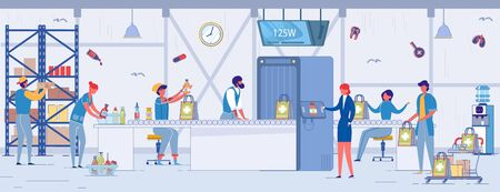 Internal Work on Ordering Remedy in Smartphone. Women in Business Suit Chooses Medicine on Screen. Pharmacy Workers from Shelf Select Right Product and Put it in Packages, Send through Assembly Line. Иллюстрация