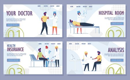Medical Insurance and Healthcare Services. Professional Health Care Provision, Analysis and Examinations, Diagnosis and Treatment. Hospitalization and Surgery. Flat Vector Illustrations Set.