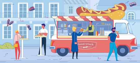 Hot Dog Truck and People on Cityscape Backdrop.