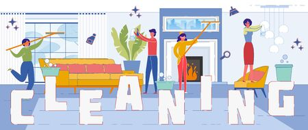Cleaning Service Company Flat Word Concept Banner