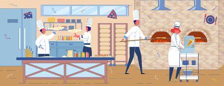 Italian Restaurant or Pizzeria Staff in Kitchen. Ilustración de vector