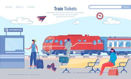 Buying Train Tickets for Train Station, Cartoon. Иллюстрация