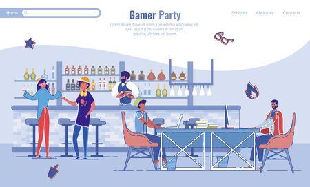 Gamer Party Friends Leisure Landing Page Design Иллюстрация