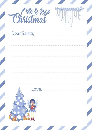 Blank Template with Lines for Santa Claus Letter